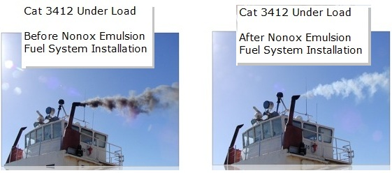 Before and After the Nonox Emulsion Fuel System Installation